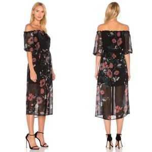 Bardot Black Floral Off The Shoulder Midi Dress 10